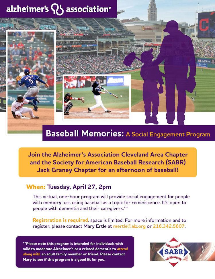 Cleveland Alzheimer's association baseball memories event poster.
